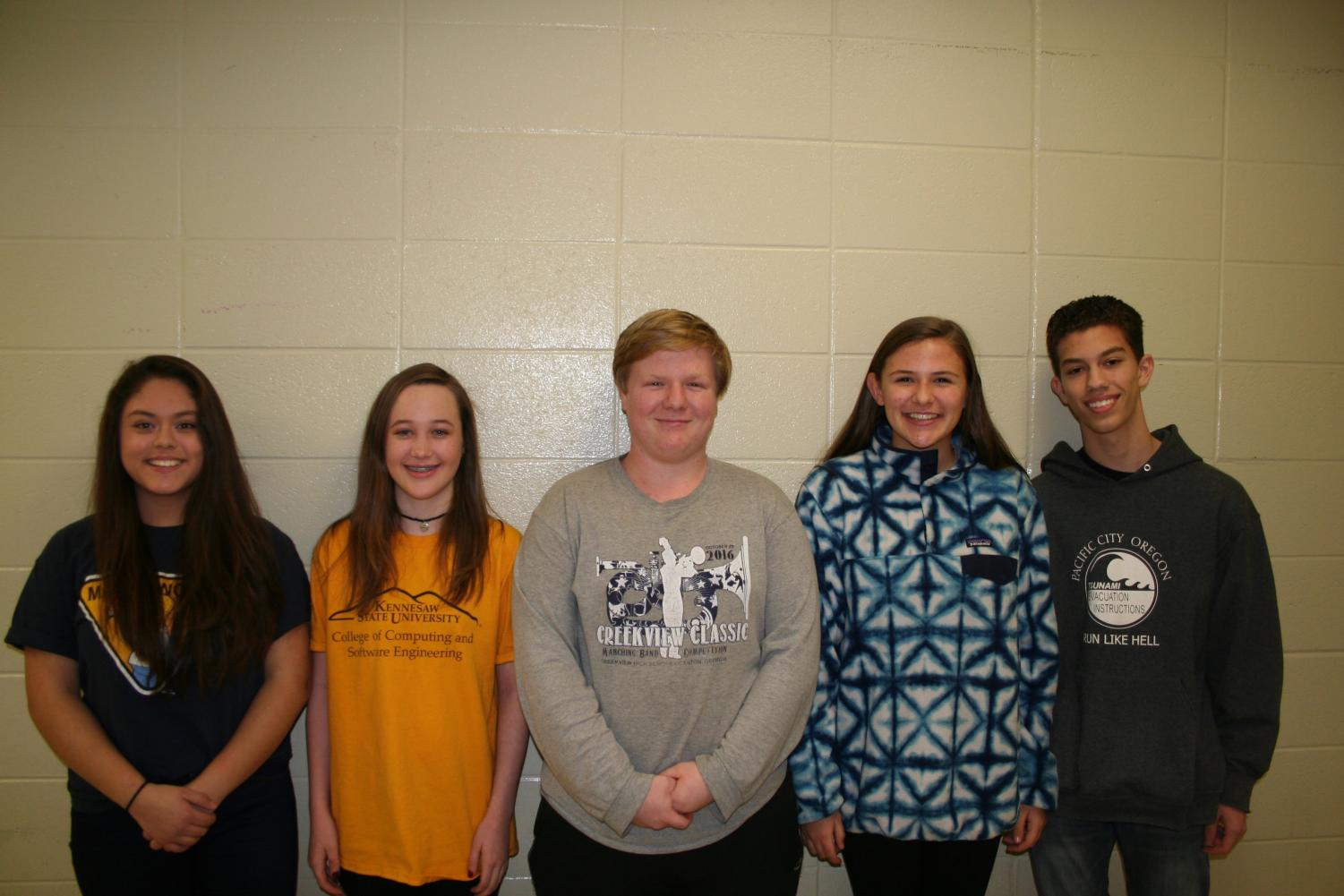 Narizabel Cardozo, Brittanit Gerkin, David Haugen, Lizzie Williams, and Jace Rettig are Sequoyah's representatives for All-State band and orchestra. The band and orchestra starts practicing on March 1st.