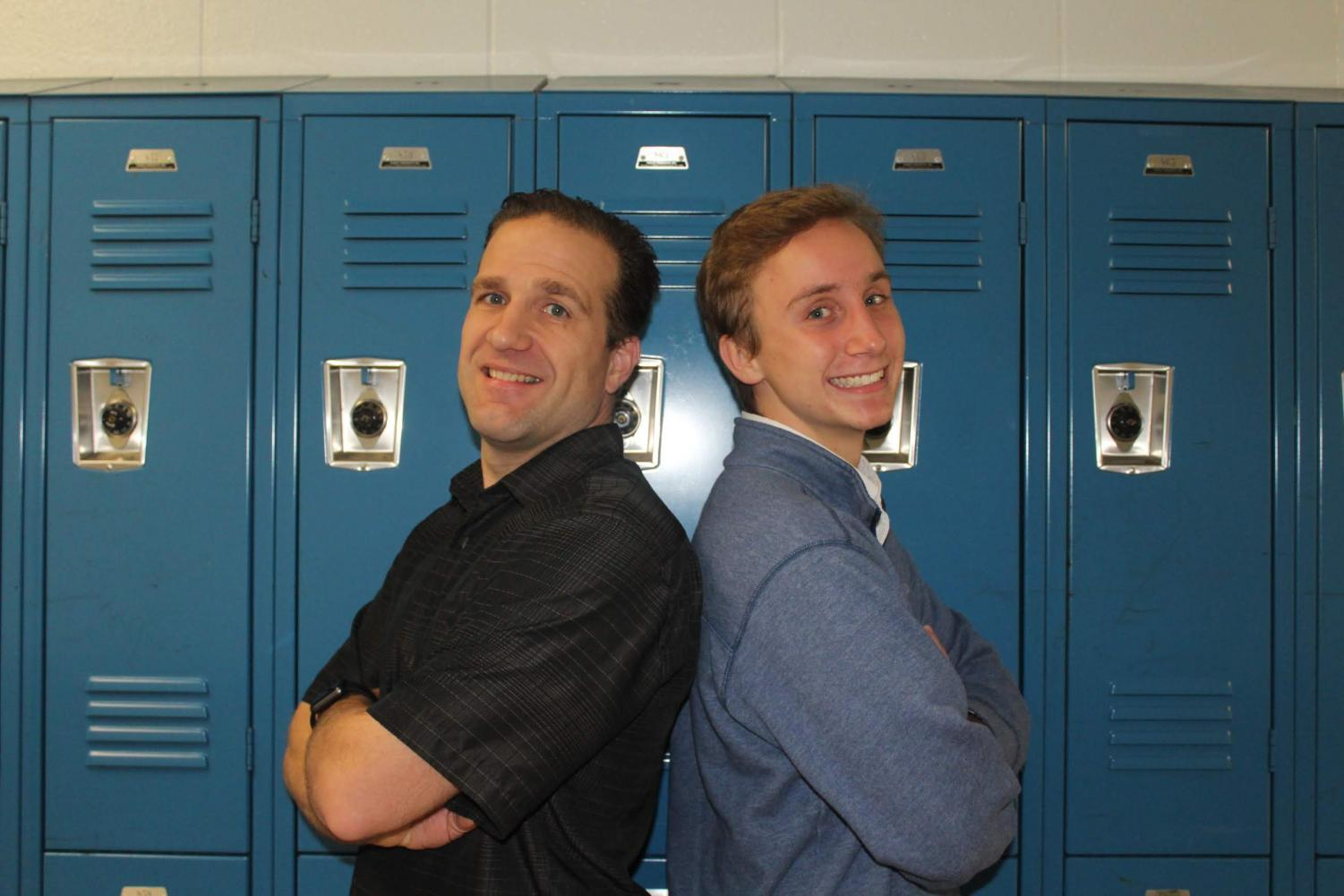 Junior Will Giles stands back-to-back in the hallways with Mr. Andrew Oberlies. The two were look-alikes because of their facial shape and eyes.