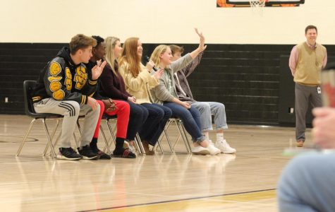 Members of the panel interact with the students in the Dean Rusk gym. Mr. Robert Van Alstyne took the students on the panel to all the feeder elementary schools for a pep rally to get the fifth graders excited about middle school.