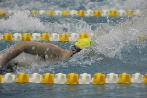 Junior Collin Brandau races through the water during the 50-yard freestyle event. Brandau reached state-qualifying time in the 200-yard freestyle relay with teammates Grant Davis, Daniel Ergle, and Tanner Baird.